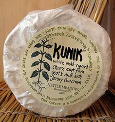 Kunik. It may very well be the sexiest cheese in the U.S.A. Made from a blend of goats' milk and rich Jersey cream, it's the kind of cheese that'll make you (or more importantly, your girlfriend) swoon. This fluffy-rinded, triple creme delight is a product of Nettle Meadow Farm, nestled in the southeast corner of the Adirondacks.