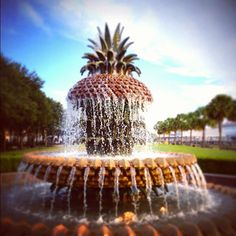 A great photo op spot: in front of the Pineapple Fountain at Waterfront Park in Charleston, S.C.