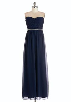 Once Upon a Timeless Dress - Blue, Solid, Beads, Special Occasion, Prom, Maxi, Strapless, Sweetheart, Chiffon, Woven, Long, Wedding, Bridesm...