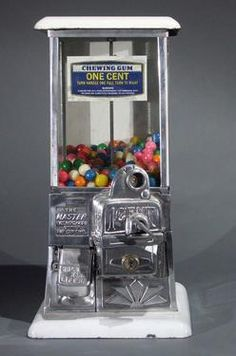 Master, Gumball, Cast Aluminum, 1 Cent, 16 inch. A circa 1925 Master Gumball one cent vending machine