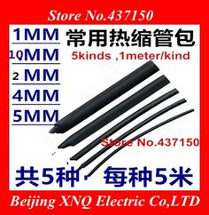 5 Size Heatshrink Heat Shrink Tube Black Insulation Sleeves Wire Wrap Cable Kit ,pack ,1mm~10mm