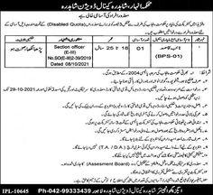 Disabled Person Naib Qasid Jobs in Lahore 2021