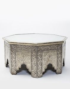 White Metal Moroccan Octagonal Coffee Table