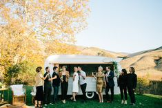 Mid Century styled Wedding Inspiration as seen on Green Wedding Shoes with our Tinker Tin Trailer Co. 1961 Shasta Bar Vintage Trailer