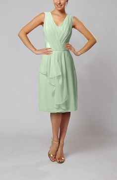 01450be4bfe Pale Green Romantic V-neck Sleeveless Zipper Chiffon Pleated Bridesmaid  Dresses on sale at ifitdress