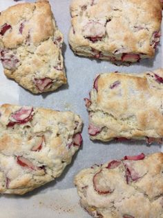 Rhubarb Scones - hubby said these were the best scones he's ever had! They have a good texture to them and the tartness of the rhubarb balances nicely with the sweetness of the scone. Note: Bet these would be my favorite scones EVER! Rhubarb Desserts, Rhubarb Recipes, Fruit Recipes, Dessert Recipes, Cooking Recipes, Rhubarb Dishes, Scone Recipes, Brunch, Rhubarb Scones