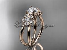 14kt rose gold diamond Cherry Blossom flower, Sakura engagement ring VD8130