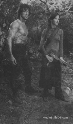 Rambo: First Blood Part II - Publicity still of Sylvester Stallone & Julia Nickson Expendables Tattoo, The Expendables, Rambo 2, Rocky Sylvester Stallone, Stallone Movies, Male Pose Reference, Silvester Stallone, Creed Movie, First Blood