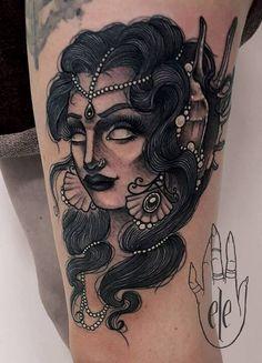 Neo Traditional Gipsy by Eleonora Rizzi #neotraditional #gipsy #cat #tattoo #milano #tatuaggi #tattoos #woman #gitana INFO: Liber.Arte Tattoo, Piercing & Supply Milano Via illirico 11 - 0292885793 www.liberartetattoosupply.it www.liberartetattoopiercing.it
