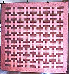 Quilt Basket Weave Pink Brown 88x89 Queen. Click on the image for more information.