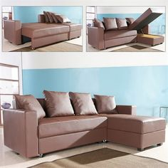 Sectional Sofa The multifunctional contemporary San Jose Convertible Sectional Storage Sofa Bed adds fort and style to your