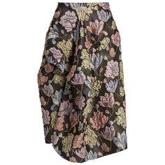 Preen By Thornton Bregazzi Mabel matelassé midi skirt ($1,232) ❤ liked on Polyvore featuring skirts, pink multi, brown midi skirt, brown ruffle skirt, floral print skirt, wrap skirt and pink floral skirt