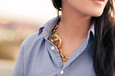Light chambray & Gold chunky necklace