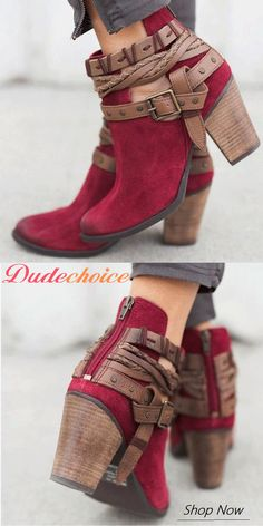 Chunky Heel Ankle Boots Off Women Flocking Booties Casual Adjustable Buckle Shoes. Size US Worldwide Off Women Flocking Booties Casual Adjustable Buckle Shoes. Size US Worldwide Shipping! Chunky Heel Ankle Boots, Bootie Boots, Shoe Boots, Red Booties, Fall Booties, Fall Shoes, Cute Shoes, Women's Shoes, Me Too Shoes