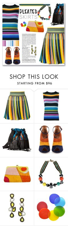 """Pleated Skirts in Multi Stripes Fun"" by feelgood35 ❤ liked on Polyvore featuring Missoni, Disney, STS Ranchwear, Malone Souliers, Emilio Pucci and Tina Frey Designs"