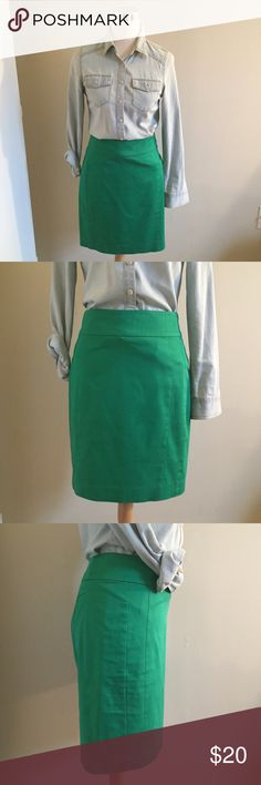 Express Pencil Skirt Green Pencil Skirt.  Hook and eye and zip closure in back.  Approximately 20 inches long. Express Skirts Pencil