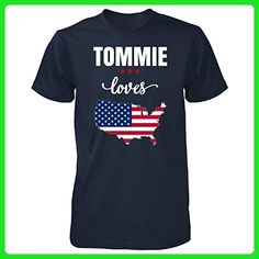 Tommie Loves Usa 4th July Independence Day Gift - Unisex Tshirt Navy 2XL - Holiday and seasonal shirts (*Amazon Partner-Link)