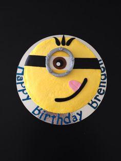 Minion Cake, Pineapple Buttermilk Cake, Pineapple infused Buttercream.  All Buttercream, Fondant eye piece.