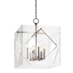 Mixing the timely with the timeless, American designers created an ultra glamorous look that defines the silver screen's golden age. Travis draws inspiration from Hollywood Regency style by encasing a sleek and elegantly proportioned chandelier in a cut and polished cube of modern acrylic glass : 9W22H | Dulles Electric Supply Corp.