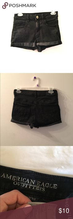 High waisted shorts American eagle size 4 black, high waisted stretch American Eagle Outfitters Shorts Jean Shorts