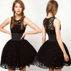 Women's Sexy Black Lace Bubble Mini Sundress