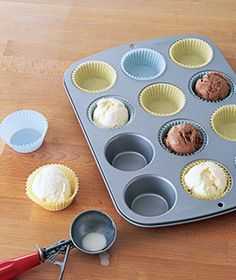 Scoop ice cream into baking cups before the party - store in freezer - bring them out when the cake is served.