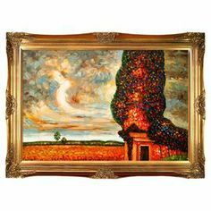 """Hand-painted and framed reproduction of Gustav Klimts High Poplar.  Product: Framed wall decorConstruction Material: Canvas, solid wood and oil paintColor: Gold frameFeatures:  Reproduction of original art by Gustav KlimtReady to hangDimensions: 32"""" H x 44"""" WCleaning and Care: Wipe clean with a damp cloth"""