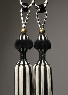 Black and ivory monochrome tassel tieback by Monika de Silva www.mdsdesigns.co.uk