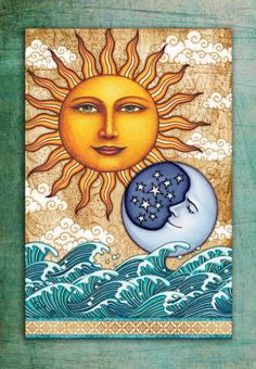 Tapestry, Sun Moon Tapestry, Ocean Sunshine VERTICAL Tapestry Wall Hanging by Artist Dan Morris, washable soft fabric, ©Dan Morris Sun And Moon Tapestry, Tapestry Wall, Moon Sun Tattoo, Dan Morris, Sun Moon Stars, Sun Art, Hippie Art, Psychedelic Art, Art Drawings