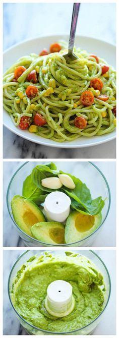 Avocado Pasta - Healthy and easy! - statt normaler Pasta einfach aus Zuccini Nudeln schneiden und schon ists Lowcarb