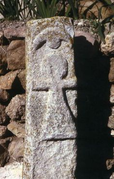 Stele with Tanit's symbol in Carthage's Tophet, including a crescent moon over the figure.