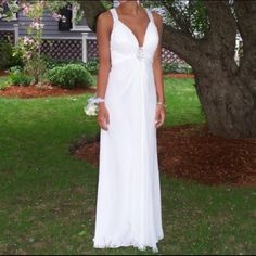 Elegant white chiffon gown/prom dress Beautiful one of a kind La Femme prom dress. I absolutely adore this dress. I wore it to my junior prom. It's only been worn one time!! It's extremely elegant. Straps are embroidered still in perfect condition. Willing to negotiate on price. La Femme Dresses Prom