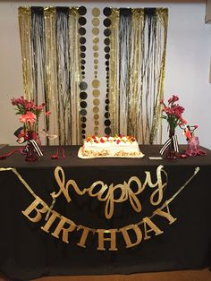 black white and gold surprise birthday party decor birthdays pinterest surprise birthday. Black Bedroom Furniture Sets. Home Design Ideas