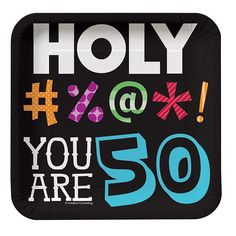 Holy Bleep! 50th Birthday Square Paper Dessert Plates 8ct