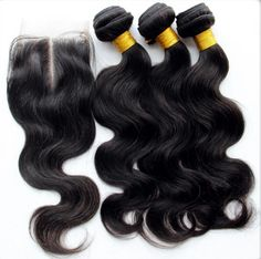3 Bundle with 4x4 Closure Extension 100 % BRAZILIAN LOOSE BODY WAVY HAIR