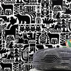 The 'kanteleen Kutsu' Fabric By Sanna Annukka Depics Forest Animals - Birds Squirrels, Bears ~ Part Of The Marimekko 09 . Black And White Fabric, Black White Pattern, White Patterns, Textures Patterns, Swedish Interior Design, Swedish Interiors, Art Nouveau, Marimekko Fabric, Animal Art Projects