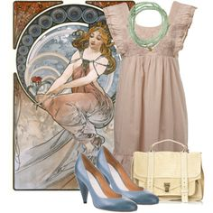 Inspired by Alphonse Mucha, created by georgina-m on Polyvore