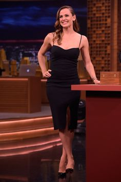16 March Jennifer Garner showed off her curves in a chic black dress for an appearance on The Tonight Show.   - HarpersBAZAAR.co.uk