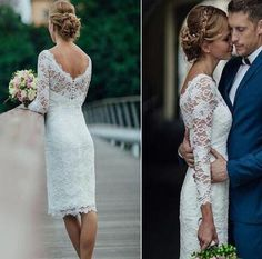 Summer 2019 Short Wedding Dresses Long Sleeve Knee Length Simple White Ivory Short Sheath Bohemian Wedding Dresses Custom Made Bridal Gowns Wedding Dress Over 40, Second Wedding Dresses, Tea Length Wedding Dress, Bohemian Wedding Dresses, Tea Length Dresses, Long Sleeve Wedding, Bridal Dresses, Lace Wedding, Bridesmaid Dresses