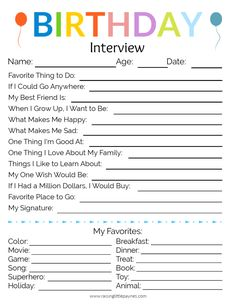 The Cutest Birthday Interview Printable Do you want to capture the special things your kids say? Use this FREE Birthday Interview Printable to guide you in what questions to ask. Bonus: it's cute! 10th Birthday, Birthday Fun, Kids Birthday Morning, Home Birthday Party Ideas, Party Ideas For Kids, 5th Birthday Ideas For Boys, 4 Year Old Boy Birthday, Birthday Countdown, Birthday Stuff