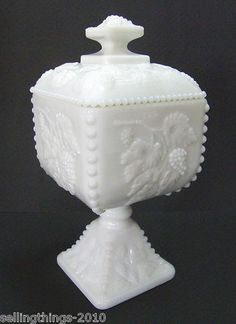 Westmoreland Beaded Grape 1884 Square Covered Footed Candy Dish – Milk Glass | eBay