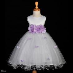 Wholesale Girl Dress - Buy WHITE BUTTERFLIES WEDDING LILAC PURPLE FLOWER GIRL DRESS 12M-18M 2 3T 4 6 8 9 10, $95.0 | DHgate