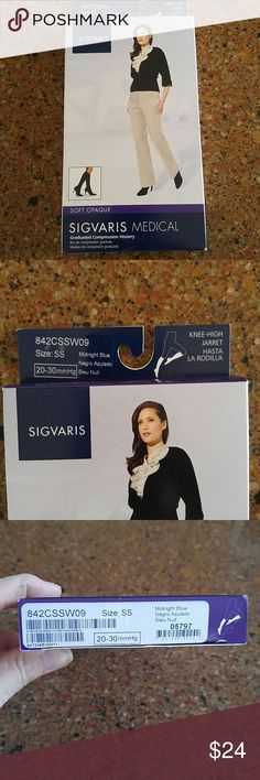 🌺Sigvaris Compression Hosiery🌺 💥Midnight Blue.Soft Opaque.Knee -High.Size SS.Made in USA🇺🇸ALL questions Welcome.Firm price unless bundled😊 Sigvaris Accessories Hosiery & Socks