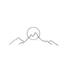 montagne et soleil (ou lune) dessinés de façon graphique, juste un trait noir