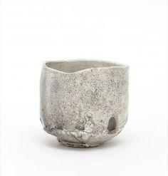 Cylinder shaped white tea bowl, Raku style- Itabashi
