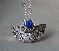 Sterling silver necklace with lapis lazuli  by Kailajewellery, £69.00