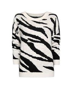 Zebra print oversized jumper