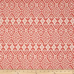 Rayon Challis Bohemian Coral/Stone from @fabricdotcom  This rayon fabric has a beautiful fluid drape and soft hand. It is perfect for creating shirts, blouses, gathered skirts and flowing dresses with a lining. Colors include coral and white.