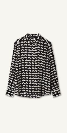 Vevet silk shirt by Marimekko. Marimekko Dress, Marimekko Fabric, Casual Street Style, Street Style Looks, Black Silk Shirt, Online Shopping Clothes, Textile Design, Fashion Prints, How To Look Better