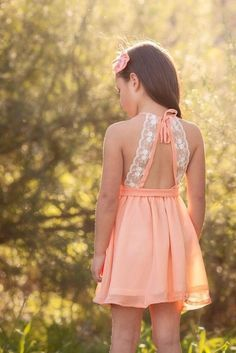 A girl of any age would be beautiful in this! -- - -- 'Audrey' Dress in Peach Kids Frocks, Frocks For Girls, Little Girl Outfits, Little Girl Fashion, Little Girl Dresses, Kids Fashion, Girls Dresses, Flower Girl Dresses, Summer Dresses